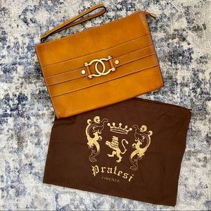 Pratesi Leather Clutch Made in Italy NWT